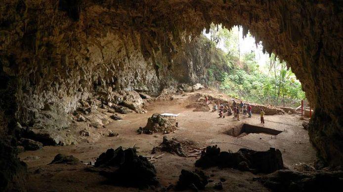De grot waar overblijfselen van de homo floresiensis werden ontdekt in 2003 in Liang Bua op het Indonesische eiland Flores.