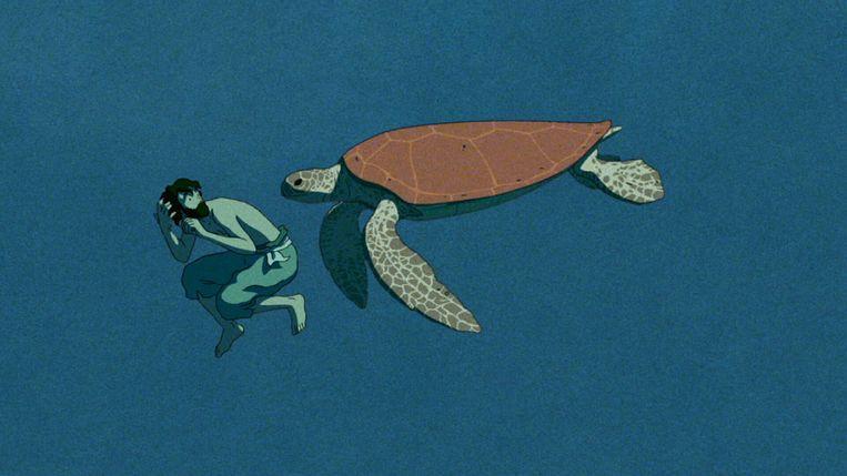 Beeld uit 'The Red Turtle' van Michaël Dudok de Wit. Beeld