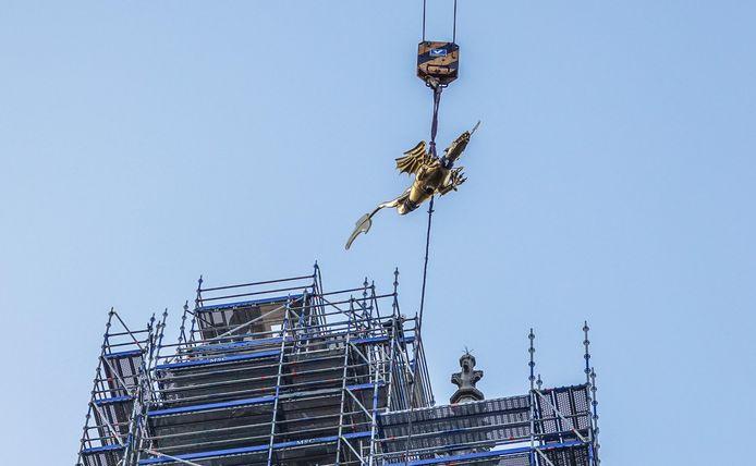 Dinsdag werd ze echter naar beneden gehaald met de grote torenkraan.