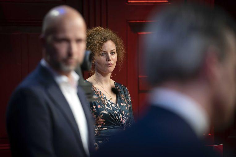 Christine Teunissen (PvdD) tijdens het klimaatdebat in aanloop naar de Tweede Kamerverkiezingen. Beeld ANP