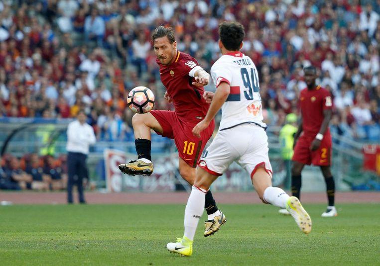 Totti (40) in zijn laatste wedstrijd voor AS Roma. Beeld reuters