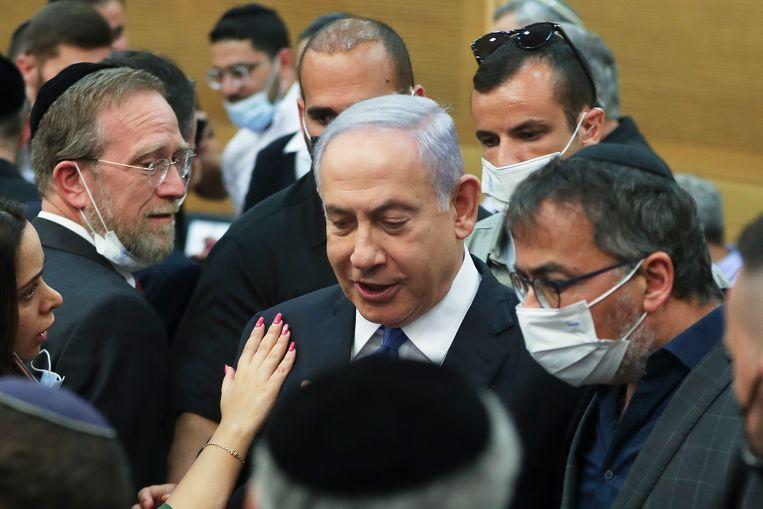 Benjamin Netanyahu in de Knesset. Beeld AP