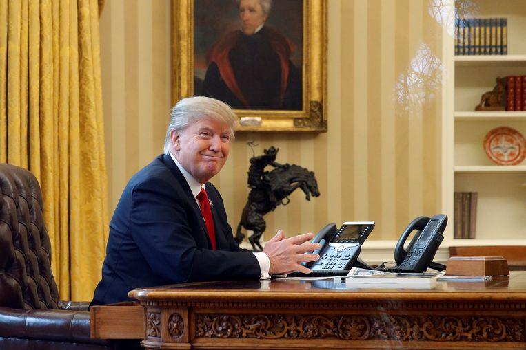President Donald Trump in the Oval Office in het Witte Huis.  Beeld REUTERS