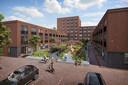 De binnentuin met entree tot de fietskelder aan de achterzijde van Coster in Wageningen