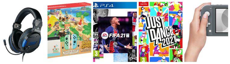 Van l naar r: PS 4 Official Stereo Gaming Headset en Animal Crossing New Horizons (Nintendo Switch), FIFA 21 Game (PS4)n Just Dance 2021 Game (Nintendo Switch), Nintendo Switch Lite Console grijs Beeld rv
