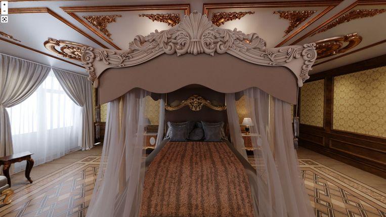 Poetins slaapkamer, die Navalny omschrijft als 'een imperialistisch boudoir'. Beeld palace.navalny.com