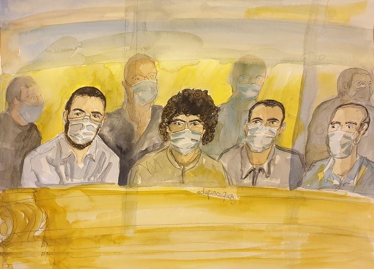 Een rechtbankschets van de beklaagden (vlnr: Ayoub el-Khazzani, Mohamed Bakkali, Bilal Chatra and Redouane El Amrani Ezzerrifi). Beeld AFP