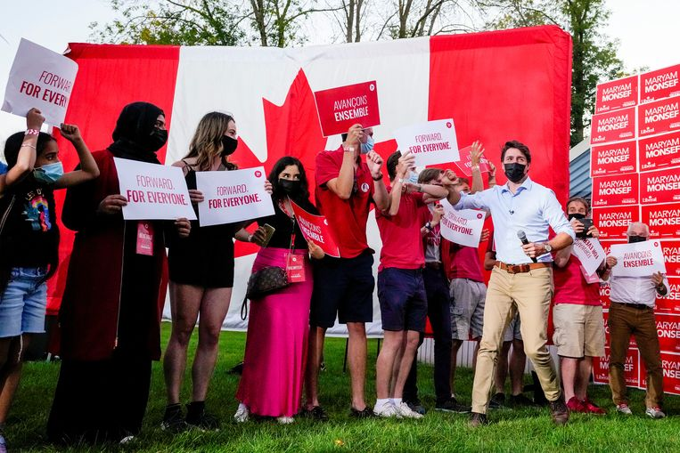 Justin Trudeau tijdens zijn verkiezingscampagne.  Beeld REUTERS