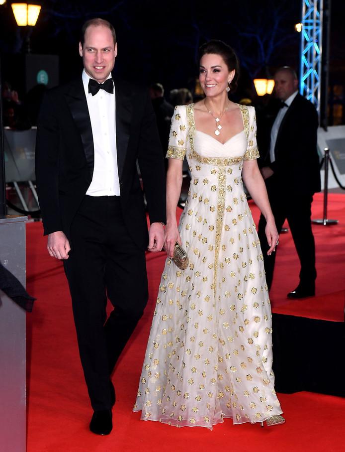 Le Duc et la Duchesse de Cambridge lors de leur arrivée à la 73ème cérémonie des British Academy Film Awards, à Londres, le 2 février 2020.