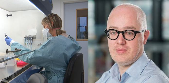 Links: testen in het labo van Marc Van Ranst. Rechts: Geert Vermeir van SD Worx.