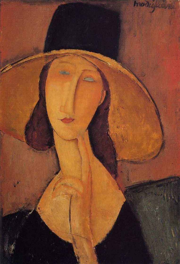 Amedeo Modigliani, Jeanne Hébuterne in a Large Hat, circa 1918. Uit privécollectie. Beeld null