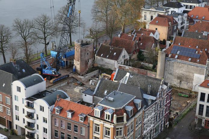 Werkzaamheden bij de Viking in de Deventer binnenstad.