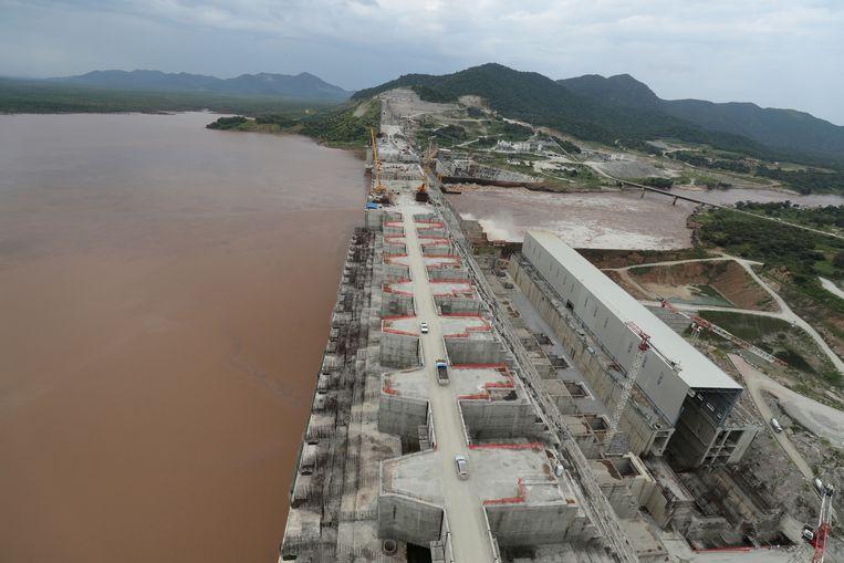 De Grand Renaissance Dam in Ethiopië ondergaat constructiewerkzaamheden.