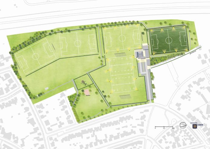Zo komt het nieuwe sportpark Moleneind in Uden er volgens de nieuwe indeling van de werkgroep uit te zien. Rechts het nieuwe kunstgrasveld van FC de Rakt met daarnaast de drie overige velden. Middenonder het veld van rugbyclub Octopus.