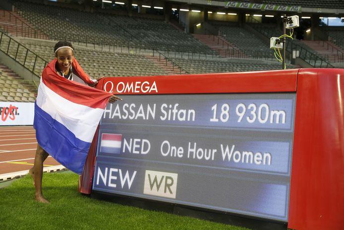 Sifan Hassan na het lopen van een nieuw werelduurrecord in september 2020.