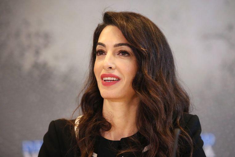 Amal Clooney tijdens haar toespraak voor de VN-veiligheidsraad. Beeld EPA