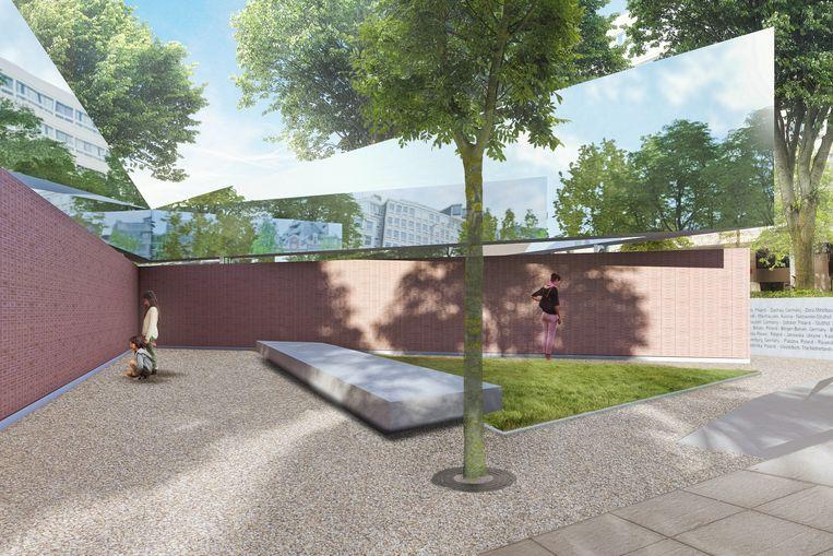 Een impressie van het door architect Daniel Liebeskind ontworpen Holocaust Namenmonument.  Beeld K2