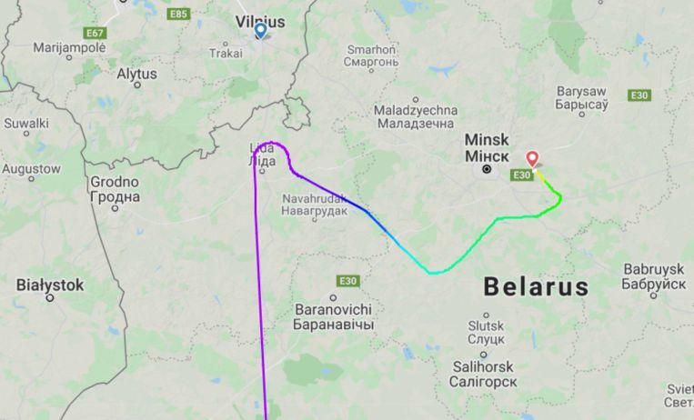 Het toestel was dichter bij Vilnius, de oorspronkelijke eindbestemming, dan bij Belarus. Beeld Flightradar24