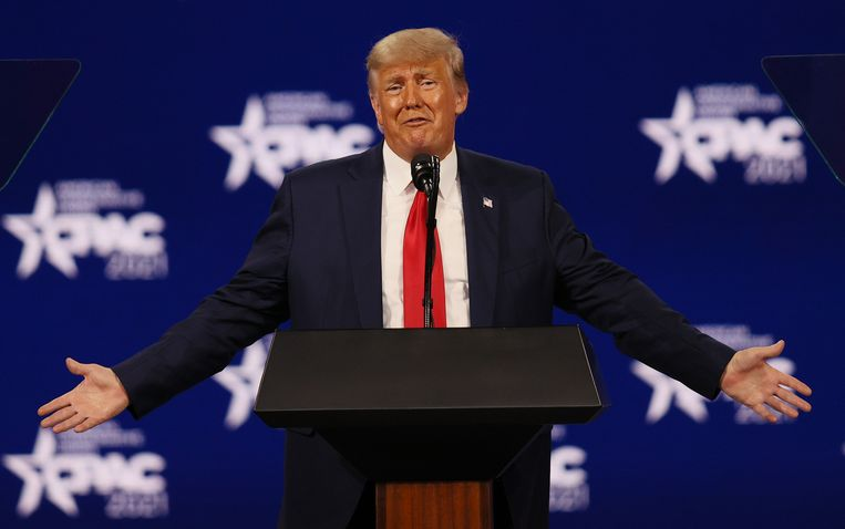 Oud-president Donald Trump op de Conservative Political Action Conference in Orlando, Florida. Beeld Getty Images