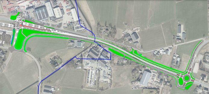 Een schets van de plannen. Links komen ter hoogte van aggregatengigant Bredenoord verkeerslichten en rechts de extra rotonde.