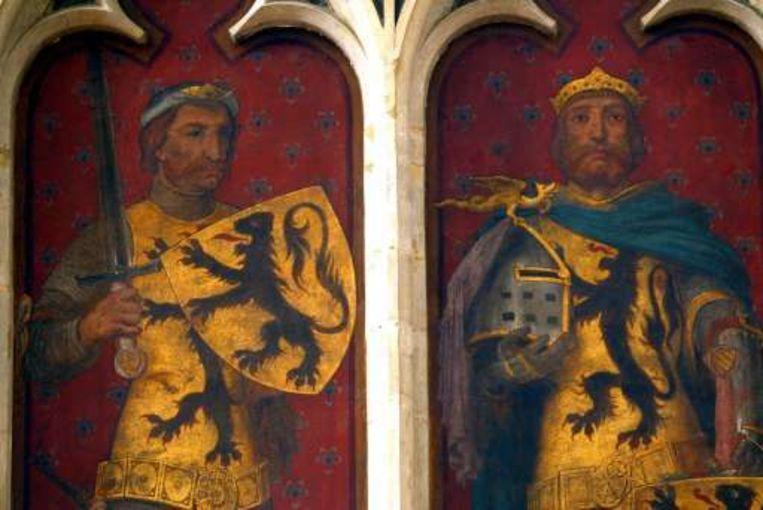 1302: De heroïsche Vlamingen hakken de Fransen in de pan: Gwijde Van Dampierre (links) en Robert van Bethune (die op 11 juli 1302 in geen velden of wegen op het slagveld te bekennen was). Beeld