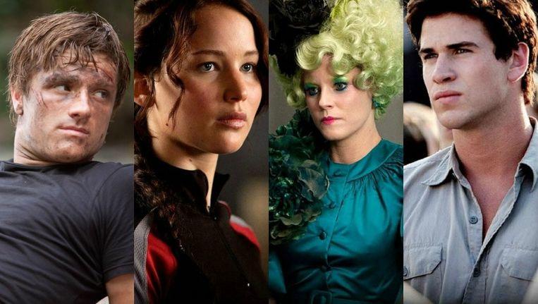 Josh Hutcherson, Jennifer Lawrence, Elizabeth Banks en Liam Hemsworth. Beeld UNKNOWN