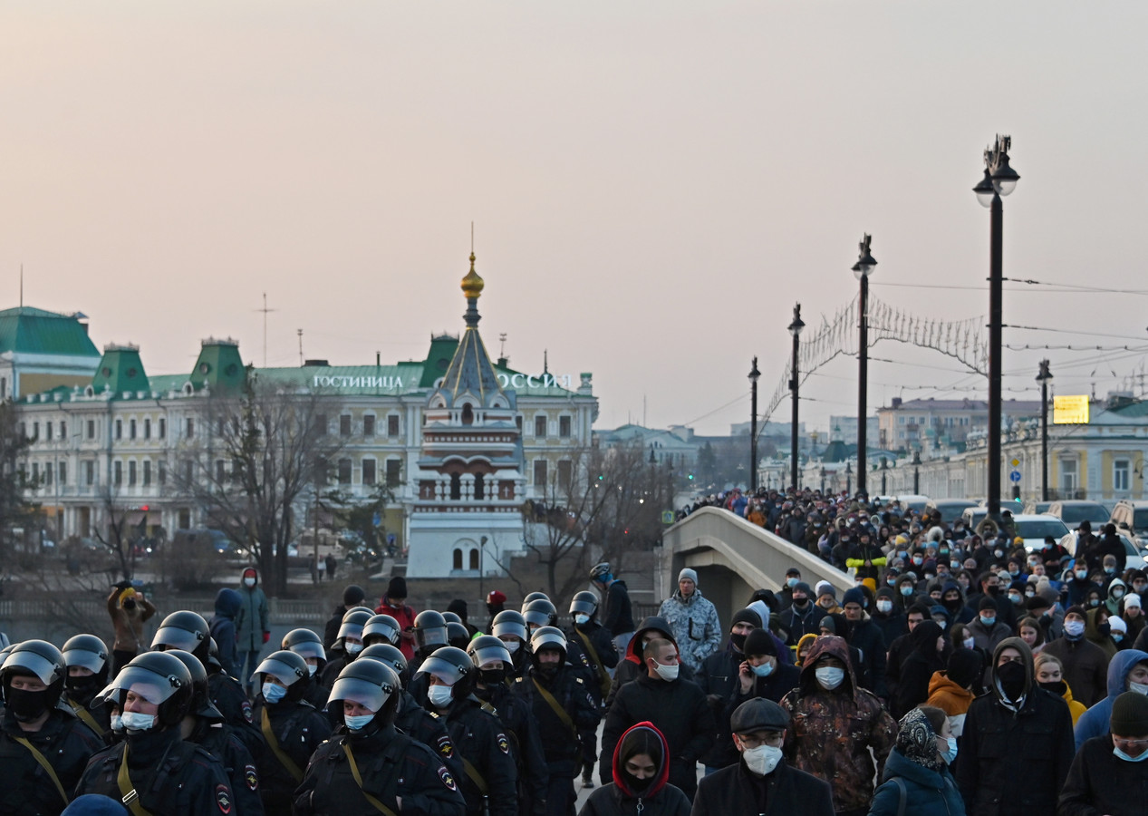 Navalny-betogers in Omsk.
