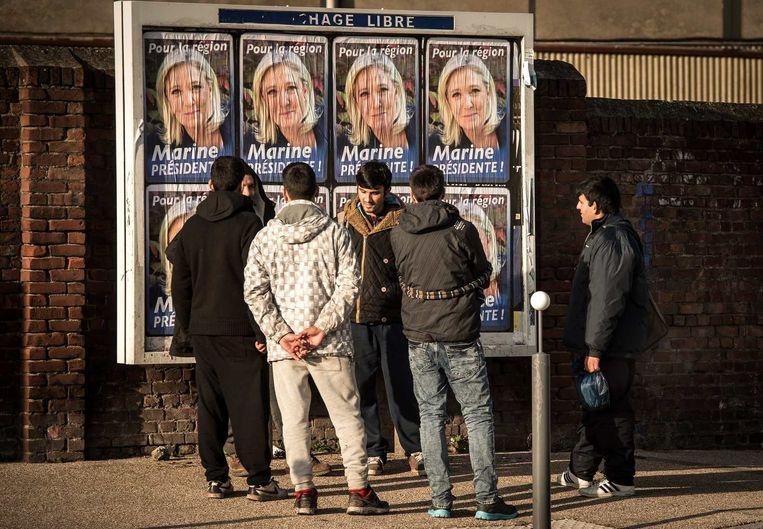 In Noord-Frankrijk is Le Pen alomtegenwoordig en het Front National oppermachtig. Beeld © afp