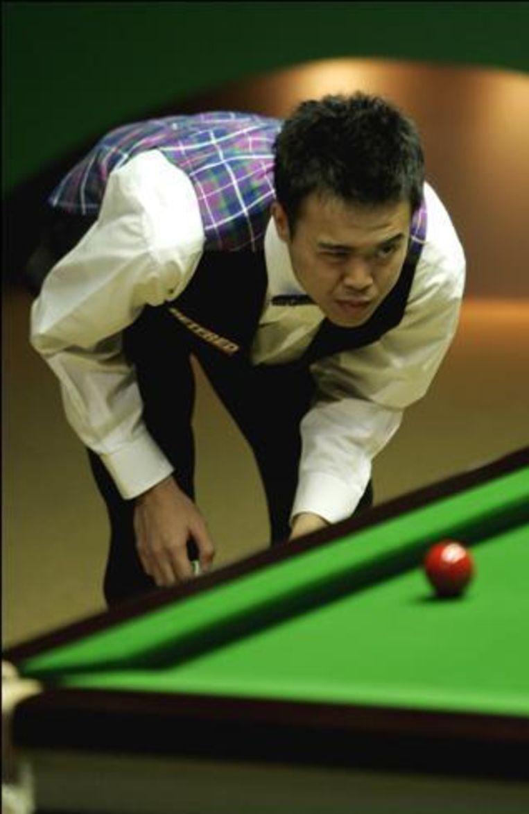 Haneveer neemt het in de eerste ronde van de China Open snooker op tegen deze Fu. Beeld UNKNOWN