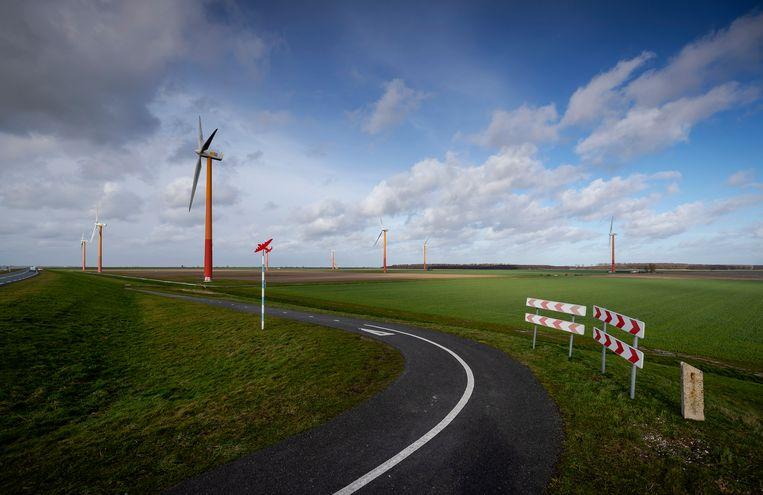Overzicht van Almere Pampus. Coalitiepartijen CDA en D66  willen dat daar tienduizenden woningen komen/ Beeld Hollandse Hoogte /  ANP