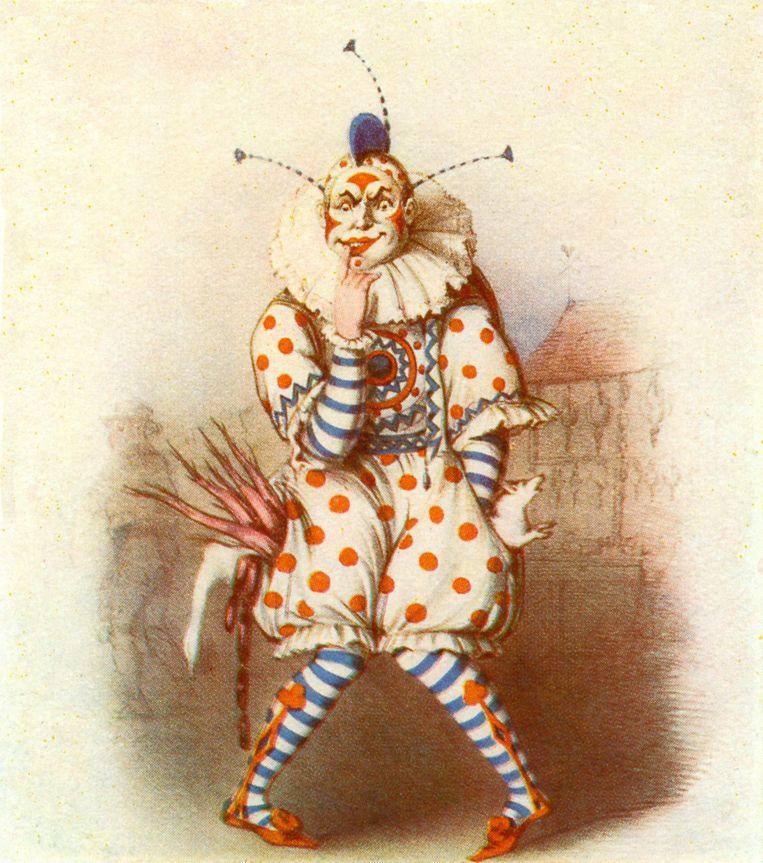 Joseph Grimaldi. 18de-eeuwse Britse mimespeler die zich uitdoste met een wit geschminkt gelaat, rode wangen en een blauwe hanenkam. Zijn publiek bracht hij aan het lachen, in zijn eigen leven werd hij gekweld door depressies en alcoholisme. Beeld