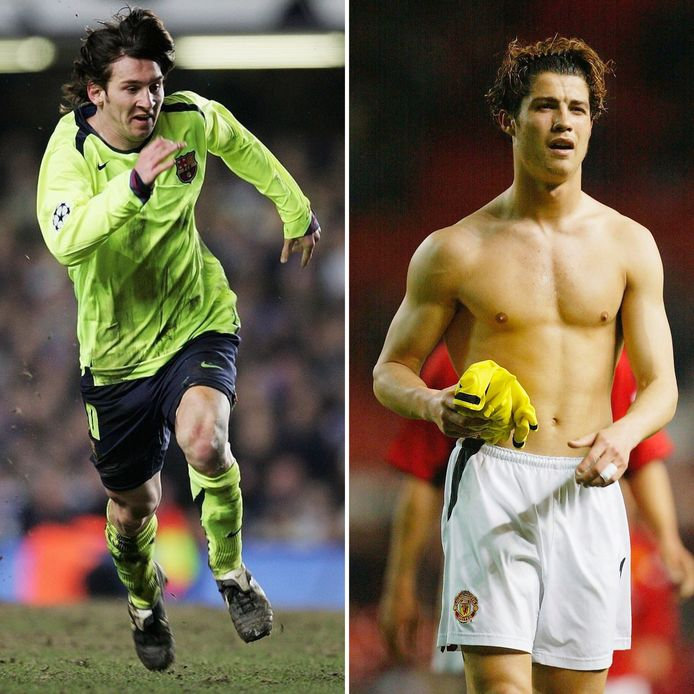 Lionel Messi en Cristiano Ronaldo in het seizoen 2005/2006.