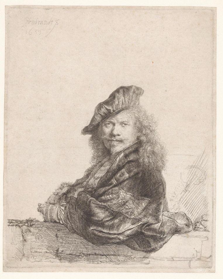 Rembrandt van Rijn Zelfportret met de onderarm leunend op een stenen dorpel Beeld Rijksmuseum