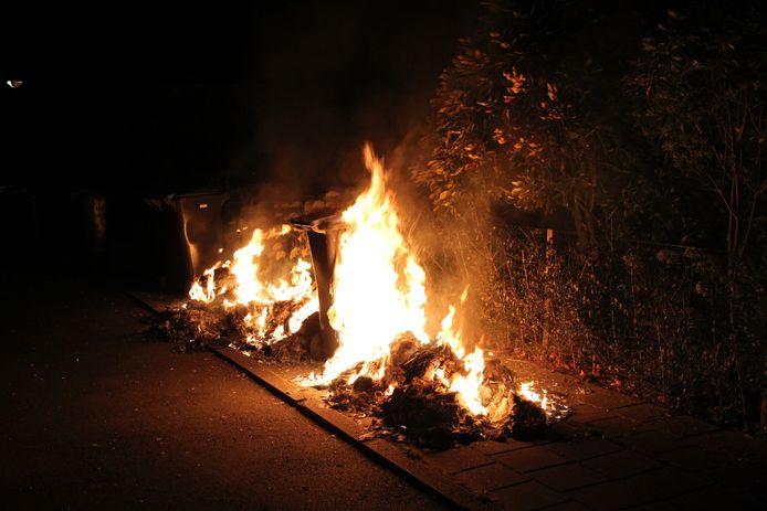 Aan de Marene in Tiel stonden containers in brand.