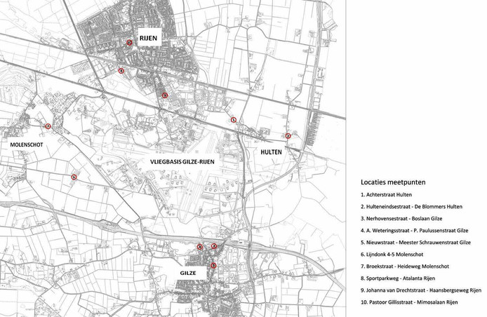 Deze kaart geeft aan op welke tien locaties in Gilze en Rijen Defensie metingen gaat verrichten naar geluid en trillingen die  helikopters en ander vliegend materieel veroorzaken.