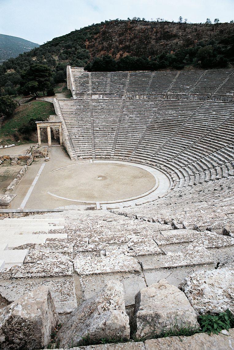 Openluchttheater Epidaurus is bijna 2.500jaar oud, maar werd pas in 1870 ontdekt en is daarom nog in zeer goede staat. Beeld De Agostini via Getty Images