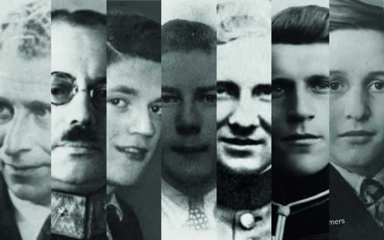 Zeven KNVB-leden die de oorlog niet hebben overleefd. Vlnr: Hartog Hollander, Reinder Boomsma, Leendert van Keimpema, Fredericus Witjes, Johannes Brusselers, Everardus Morren en Antonius Eimers.