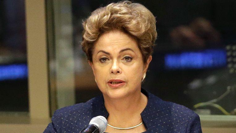 Dilma Rousseff gaf een toespraak op de United Nations Sustainable Development Summit in New York. Beeld AP