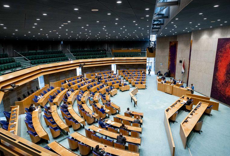 De plenaire zaal van de Tweede Kamer zit vanwege de coronamaatregelen niet meer vol tijdens de stemmingen.  Beeld ANP/Sem van der Wal