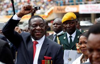 fotoreeks over Emmerson Mnangagwa ingezworen als president van Zimbabwe