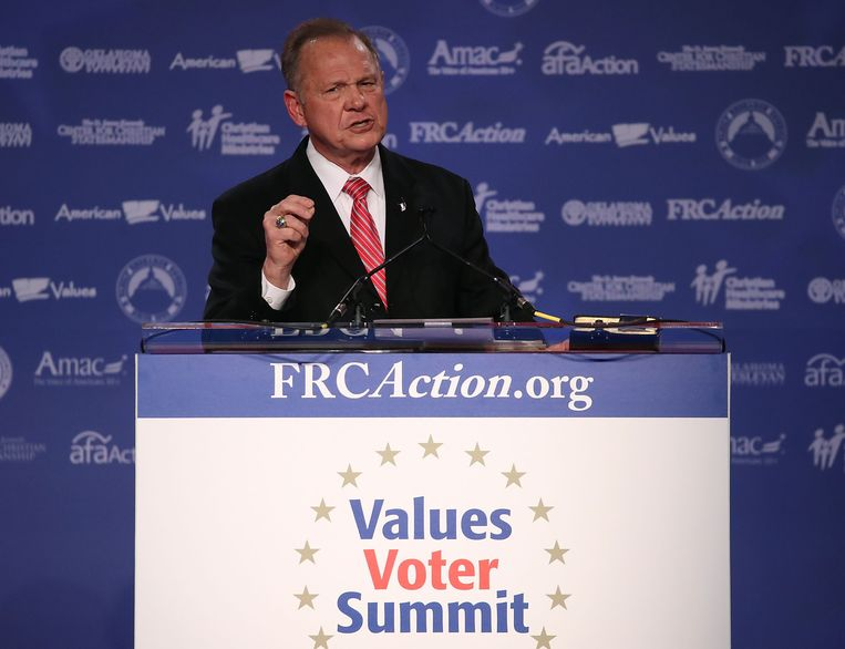 Roy Moore tijdens de Family Research Council's Values Voter Summit in Washington, DC.  Beeld AFP