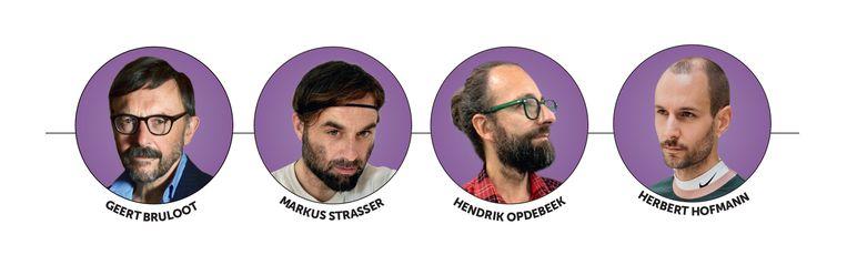De vier experts in mannenmode. Ze hebben ieder een eigen mening over de plotse groei. Beeld rv