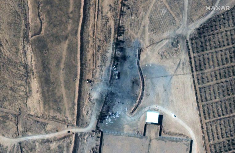 Satellietbeeld van het gebied in Syrië na de raketaanval van de VS.  Beeld EPA