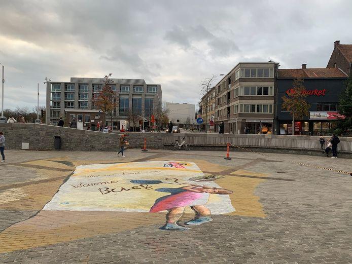 De krijttekening op het Sint-Poppoplein.