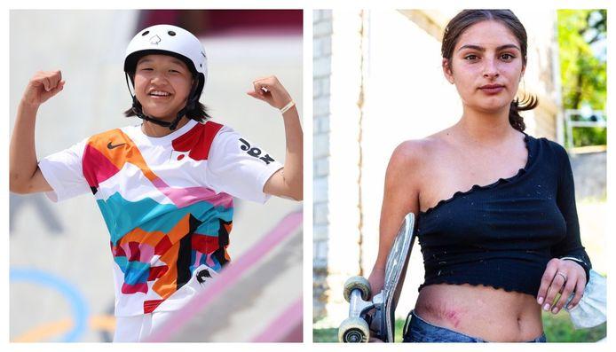 Links Momiji Nishiya (13), rechts Vicky (19), beiden vrouwelijke skateboarders.