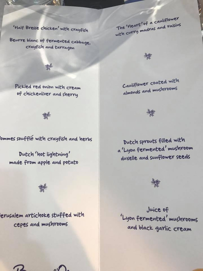 Overzicht van de gerechten die de koks gemaakt hebben.