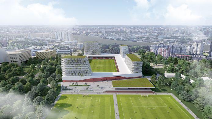 Een eerdere impressie van het stadionproject van Excelsior. Nieuwe plaatjes komen deze zomer.