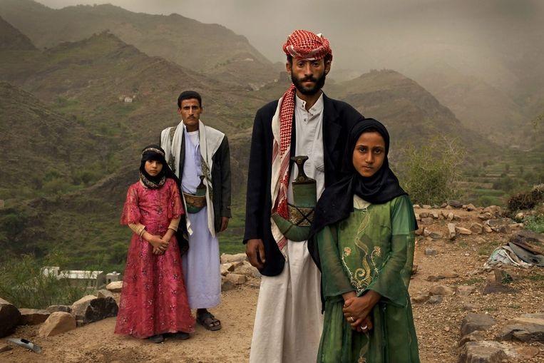 Twee kindbruidjes in Jemen. Deze foto won in 2012 de eerste prijs bij World Press Photo, in de categorie 'verhalen'. Beeld EPA
