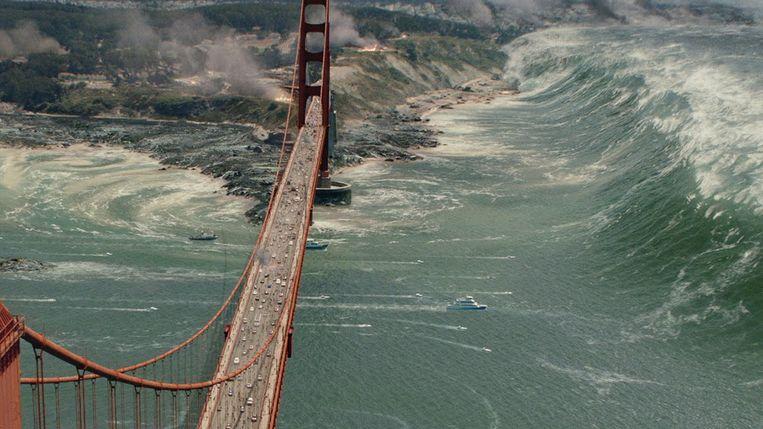 De Golden Gate Bridge in San Andreas (2015). Beeld