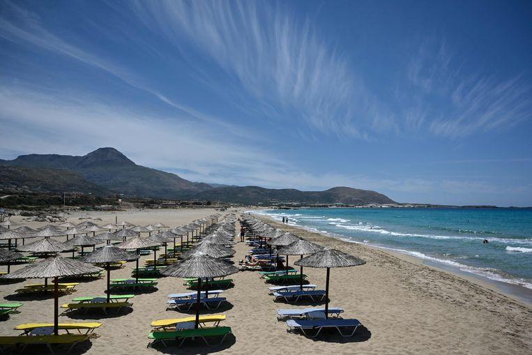 Kreta is klaar voor het toerisme. De kleurcode voor dit eiland is op dit moment echter nog oranje. Beeld AFP